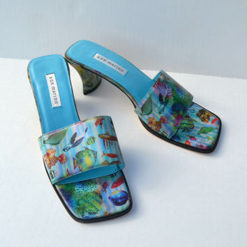 90s sea punk club kid holographic fish turtles ocean print lenticular 3d kitten heel shoes 9