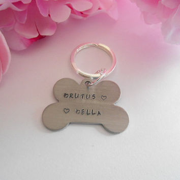Names And Text Of Your Choice Hand Stamped Dog Bone Keychain Made To Order Back And Front Stamped
