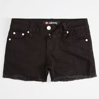 Scissor Fray Edge Girls Denim Shorts Black  In Sizes