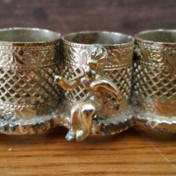 Vintage Ornate Gold Toned Footed Filigree Lipstick Holder With Cherub Perfect For Your Vanity Boudoir Photography Prop