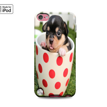 Chihuahua in Polka Dot Cup Cute Puppy Dog Puppies Funny Silly Adorable Rubber Case for iPod Touch 6th Generation Gen or iPod Touch 5th Gen