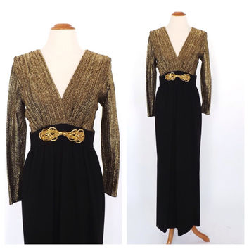 Vintage 1960s 1970s Diva Gown Metallic Gold Lame 70s Maxi Dress Long Sleeve Hostess Dress Motown Disco Diva 1930s Art Deco Dress Size Medium