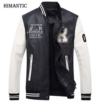 Motorcycle leather jacket men fashion biker leather bomber jackets men stand collar coat