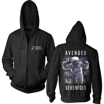 Avenged Sevenfold Men's  AVS Logo Space Zip Hoodie Zippered Hooded Sweatshirt Black