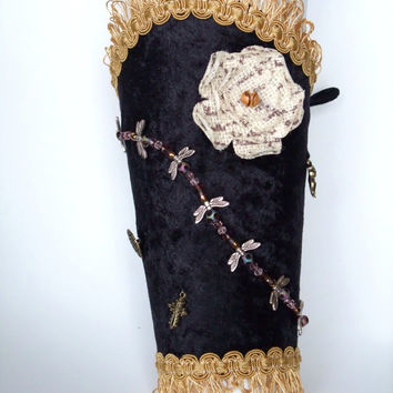 Victorian / Steampunk Bracer made from Leather with Velveteen covering and cloth inner lining.