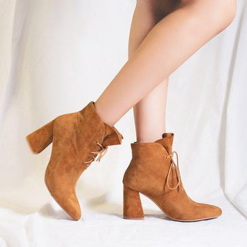 Pure Color Pointed Toe Suede High Chunky Heel Lace Up Short Boots
