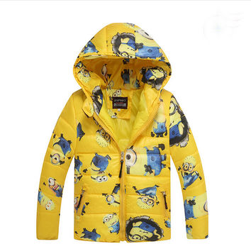 Boys Minion winter coats&Jacket,children clothing Warm hooded kids jackets Girls coat Winter jacket 3-10T 3Color Free