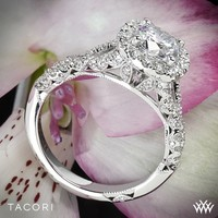 18k White Gold Tacori Petite Crescent Twisted Diamond Engagement Ring