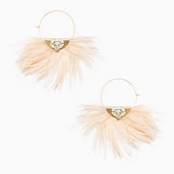 Feather Earrings - Pink/Gold