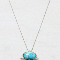 AEO Women's Triangle Turquoise Pendant Necklace (Silver)