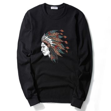 ca qiyif Men Indian Chiefs Print Long Sleeve