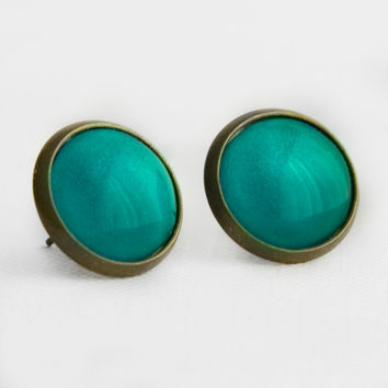 Neon Turquoise Post Earrings in Antique Bronze - Vivid Green Blue Earrings