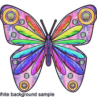 """Abstract Butterfly nursery decor childs room kids wall art using my watercolor painting to create a digital collage metallic print 8"""" x 8"""""""