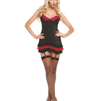 Ruffled Pinstripe Chemise W-lace Trim Black-red Md