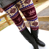 Purple Deer Print Leggings