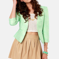 Mint-allica Mint Green Cropped Jacket