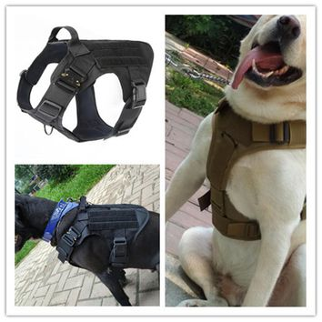 Tactical Police K9 Military 1050D Nylon Molle System Dog Training Dog Harness Hunting Vest Clothes Load Bearing Harness