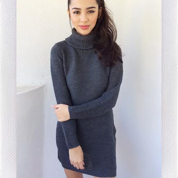 {REVERSE OFFICIAL} Turtle Neck Dress- Charcoal