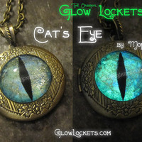 Cat's Eye Glow Locket Glowing in the dark  Victorian Magic