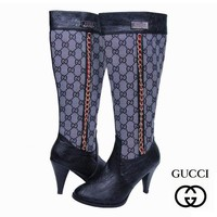 GUCCI Fashion Leather Chain High Boot Heels Shoes