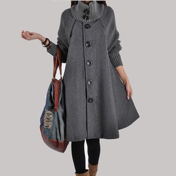 d46941c1860 New Loose Large Size Long Woolen Cape Coat Women Wool Coats Nice