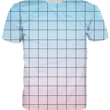 Blue Pink Grid T-Shirt