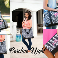 Caroline Night Viv & Lou® Weekender Collection, Black Weekender, Black Travel Bag, Viv and Lou Weekender, Monogram Travel Bag, Weekender