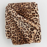 Leopard Print Faux Fur Throw Blanket