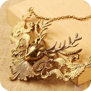 2 Colors s  Horn Collar Necklace Vintage Animal Deer Head Pendant Chain Necklaces Gifts SM6