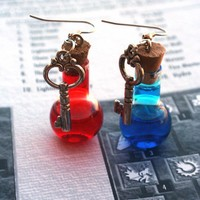 Diablo Inspired Mana and Health Potion Earrings
