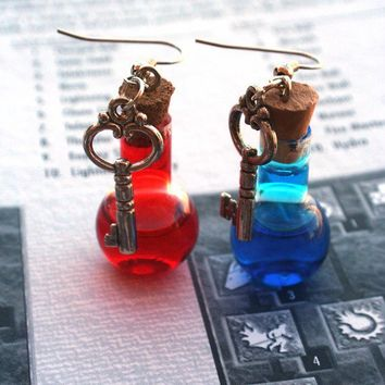 Diablo Inspired Mana and Health Potion Earrings by ProjectPinup