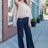 Sail Of Two Cities Wide Leg Jeans, Dark Denim