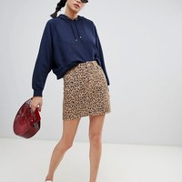 New Look Leopard Print Denim Skirt at asos.com