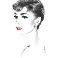 Audrey Hepburn Portrait - Sabrina Charcoal Pencil Drawing