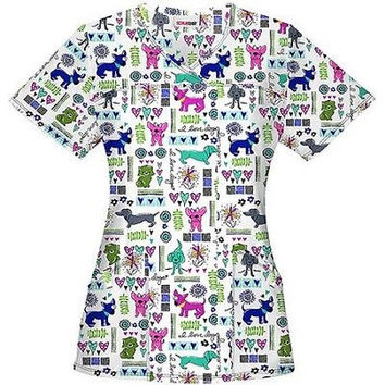 ScrubStar Women's Printed Pups & Paws Scrub Top, XSmall, White, SS15A793
