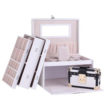 Large White Jewelry Box Leather Jewellery Organizer with Travel Bag&Mirror& Coded Lock PU Watch Storage Case Rings Display ZG243