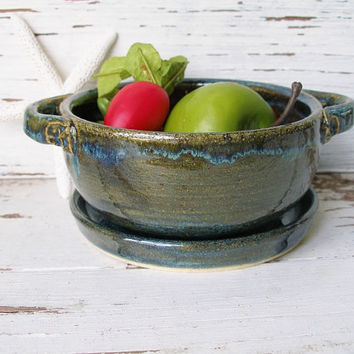 Small Colander berry bowl strainer blue green ceramic pottery handmade kitchen dish