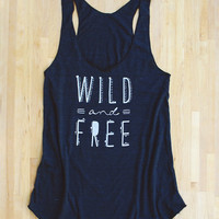 Wild and Free Racerback Tank in triblend black gray american apparel screen printed eco-friendly water based inks tribal geometric print