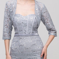 Silver Mid Length Sleeve Lace Bolero Jacket