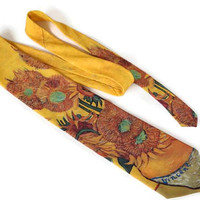 "Vintage Art Tie,Vincent Van Gogh ""Sunflowers"",1994 Ralph Marlin Novelty Tie,USA Made,Vintage Tie,Polyester Tie,Unusual Necktie,Yellow Tie"