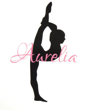 Gymnastics decal, personalized decal, monogrammed decal, girls room decor decal, decal with name