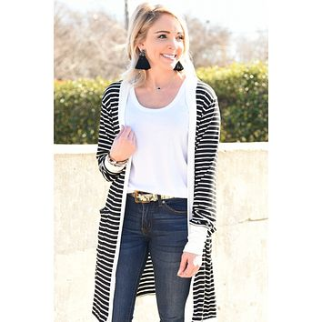 Easy To Love Striped Cardigan - Black