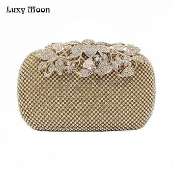 Luxy Moon Luxury Diamond Gold Evening Bags Peacock Silver Clutch Crystal beaded Evening Clutch rings wedding party purse w326