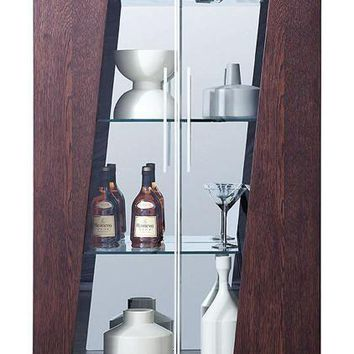 Modrest Prizma - Modern Wenge and Glass Dining Display Cabinet