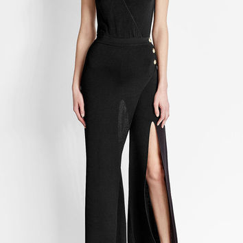 Crepe Jumpsuit with Slit Detail - Balmain | WOMEN | US STYLEBOP.COM