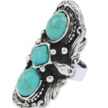 Tribal Silver Plated Unique Inlay Turquoise Ring