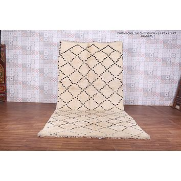 Larg wool beni ourain rug, 5.9 FT X 11.8 FT