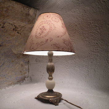 French retro table lamp, French vintage table lamp. Mood lamp. Small table lamp with lamp shade. Metal lamp stand and shade. cottage chic