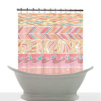 Artistic Shower Curtain - Seashore- Patterned shower curtain, candy pink, peach , pastel, art, decor, home