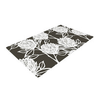 "Gill Eggleston ""Protea Graphite White"" Brown Flowers Woven Area Rug"